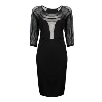 Sexy Grid Patchwork Hollow Out Vrouwen Bodycon Pencil Dress