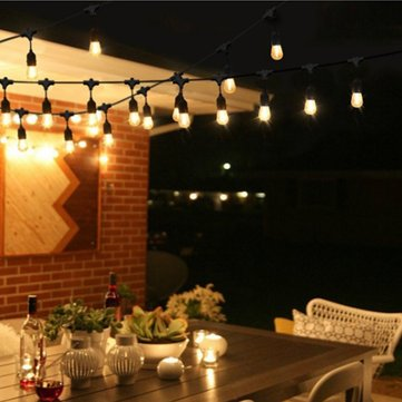 Mising 15M US Plug E26/E27 Outdoor Warm White 15LED Bulbs Rubber Wire String Holiday Light AC110