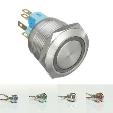 12V 6 Pin 22mm Led Light Metal Push Button Momentary Switch Waterproof  Switch