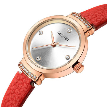 MEGIR 4207 Casual Style Leather Strap Luxury Analogue Women Wristwatch Fashionable Quartz Watch