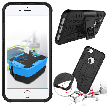 Shockproof Anti Skid Anti-drop Kickstand Case Hard Soft Hybrid Rugged Case Cover For iPhone 7