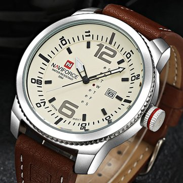 NAVIFORCE 9063 Simple Design Men Wrist Watch Date Display Leather Strap Quartz Watches