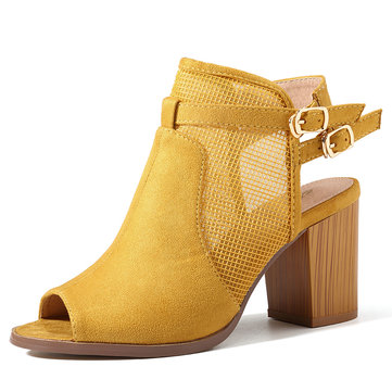 SOCOFY Large Size Women Hollow Out Suede Chunky Heel Sandals