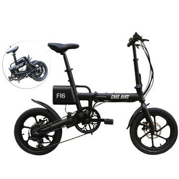CMSBIKE F16 36V 7.8AH 250W黒16インチ折りたたみ電動自転車20 km / h 65キロメートルマイレージインテリジェント可変スピードシステム