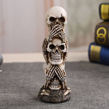 Skull Car Ornament Hear/See/Speak No Evil Stacked Totem Pole Desktop Furnishing Articles Gothic Dark Science Toy