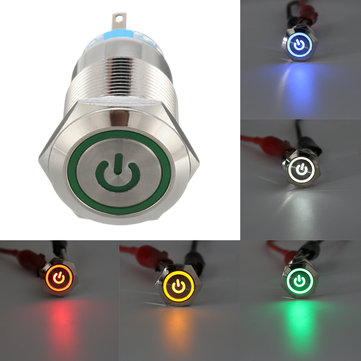 5 Pin 19mm LED Silver Steel Push Button Latching Power Switch Waterproof 12V