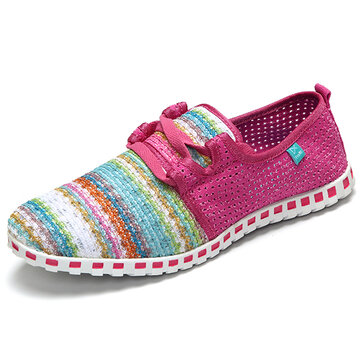 Rainbow Stripes Breathable Mesh Slip On Athletic Shoes Walking Casual Shoes