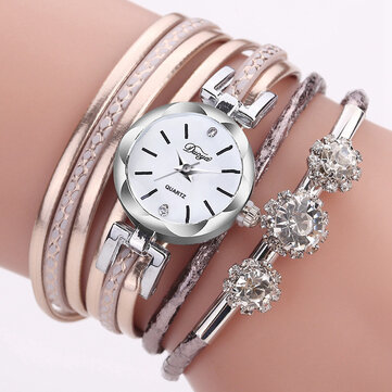 Duoya Luxury Ladies Silver Silver Clock Femmes Bracelet Montre à Quartz