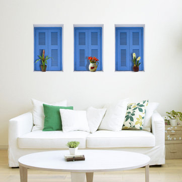 Blue Window 3D Riding Lattice Wall Decals PAG Removable Wall Art Grid Stickers Home Decor Gift