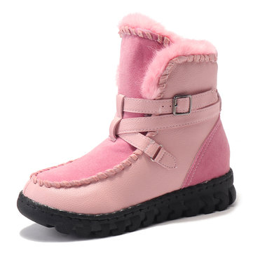 Winter Round Toe Lace Up Keep Warm Flats Snow Boots