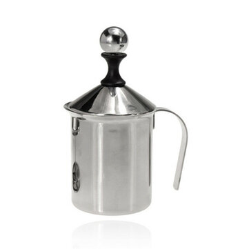 Stainless Steel Pump Milk Frother Creamer Foam Cappuccino 400ML Coffee Double Mesh Froth