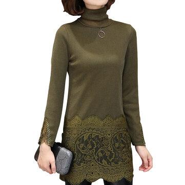 СИЛМА бархат кружева лоскутное высокий воротник длинный рукав женщин рубашка блузка