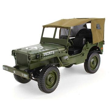 JJRC Q65 2.4G 1/10 Jedi Controle Proporcional Crawler Caminhão Militar 4WD Off-Road RC Carro Com Dossel LED luz