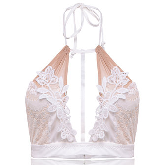 Sexy Halter Deep V  Lace Patchwork Backless Triangle Bra
