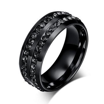 8mm Titanium Steel Men Ring Black Double Rhinestone Men Jewelry