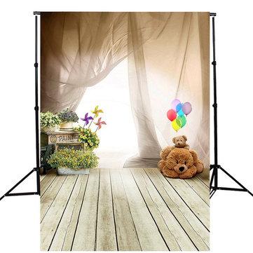 5x7FT子供たちの気球の木製の床の写真のスタジオの背景の背景