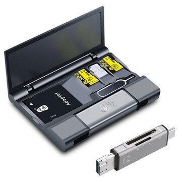 Kawau Büyük Kapasiteli Kart Kutu + Tip-c USB 3.0 Mikro USB Kart Okuyucu + Çıkarma Pin Anahtar Cep Telefonu Tablet için