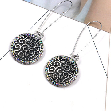 Vintage Ear Drop Earring Antique Silver Round Geometric Charm Earrings Ethnic Jewelry for Women