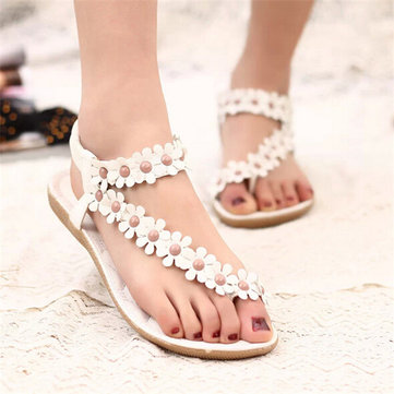 Bohemia Flowers Strappy Forme Sha Clip Toe Flat Elastic Bande Sandales