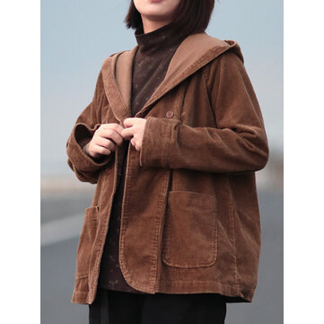 Women Retro Pure Color Hooded Long Sleeve Corduroy Short Coats With Pockets