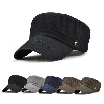 Dad Adjustable Military Flat Hats Outdoor Cotton Sunscreen Visor Peaked Cap Mens