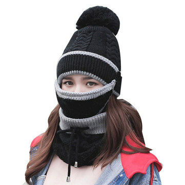 3pcs Women Winter Warm Pom Hat Cap Face Mask Scarf Wool Knit Neck Thickened Plush
