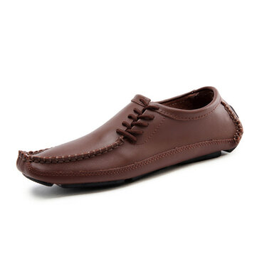 US Size 6.5-11.5 Men Leather Casual Outdoor Lace Up Comfortable Flats Loafers Shoes