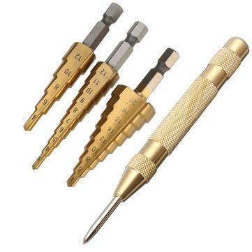 Drillpro 3Pcs Punte per trapano rivestite in titanio 3-12 / 4-12 / 4-20mm HSS con punzone centrale automatico