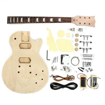 DIYエレクトリックギターソリッドウッドボディネックストリングチューニングペグ未完成ギターキット