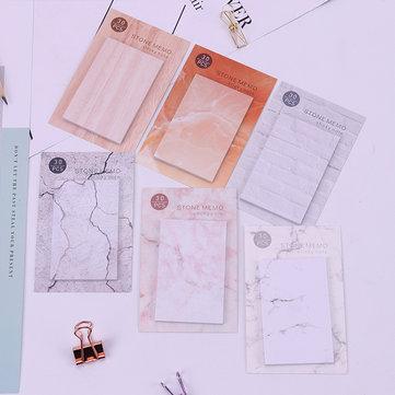 6 Adet Yaratıcı Mermer Taş Bloknot Yapışkan Notlar Memo Dizüstü Kırtasiye Not Kağıdı Çıkartmalar Ofis Okul Malzemeleri JC06
