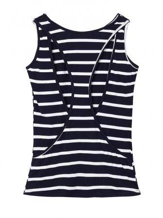 Sexy Women Back Hollow Out Striped Summer Style Tank Top