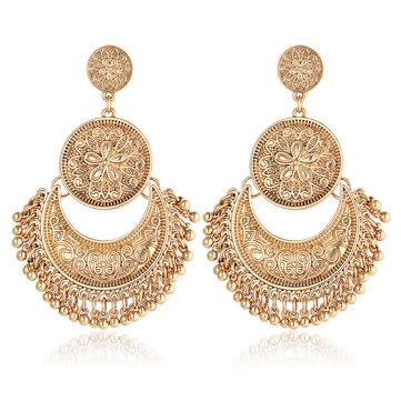 Retro etnische kwast legering bloem maan Drop Dangle Earring sieraden voor vrouwen