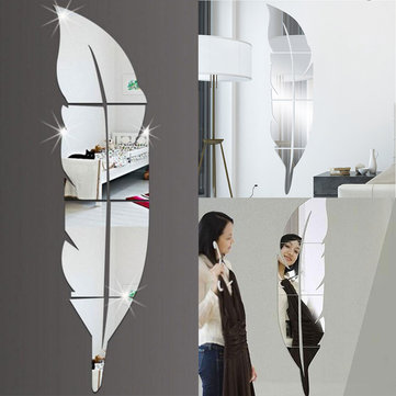 3D Mirror Vinyl Feather Wall Sticker Decal DIY Room Art Mural Removable Wall Paper Home Decor