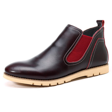 Comfy Casual Business Genuine Leather Elastic Band Soft Sole High Top Oxfords for Men