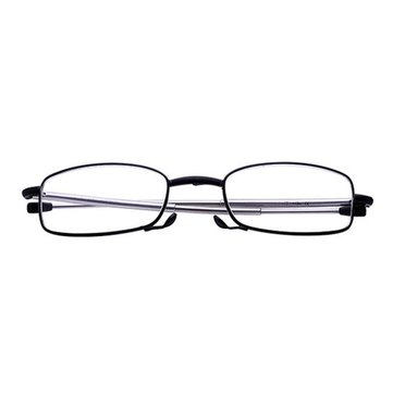 Portable Folding Comfortable Reading Glasses Metal Full Frame With Case