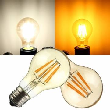E27/E26 A19 6W COB Retro Edison Lamp Non-Dimmable LED Filament Bulb 110V