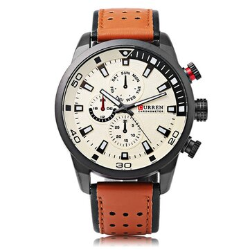 CURREN 8250 Luxus Leder Uhr Band Mode Casual Herren Quarz Armbanduhr