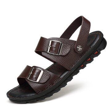 Men Comfy Breathable Genuine Leather Beach Sandals Two Way Wear Shoes