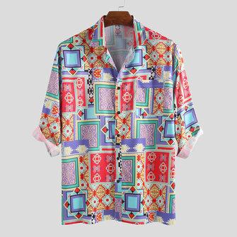 Camisas de manga larga con estampado de pañuelo cuadrado