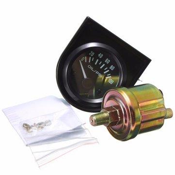 """Auto universale puntatore nero pressione olio manometro 0-100 psi bianco LED luce 2 """"52 millimetri"""