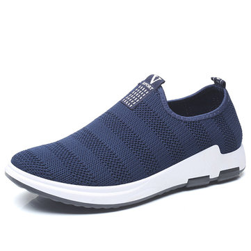 Hombre Casual Soft Slip On Sneakers de punto Sport Shoes
