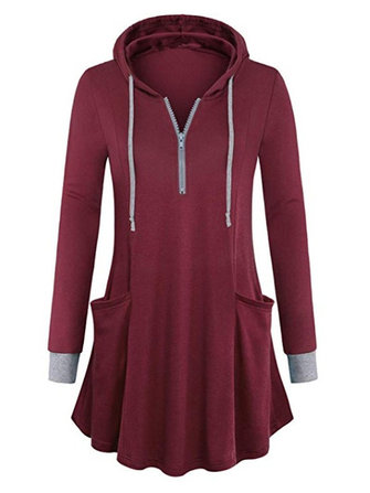 Women Casual Hooded Long Sleeve Sweatshirt with Pockets