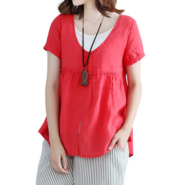 Sweet Short Sleeve Fake Two Pieces Pure Color T-shirts
