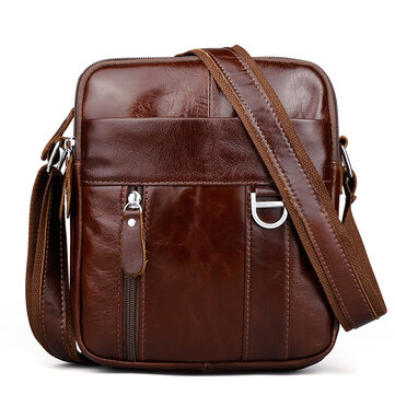 Brown Genuine Leather Shoulder Bag Messenger Crossbody Briefcase Sling Bag for ipad Mini