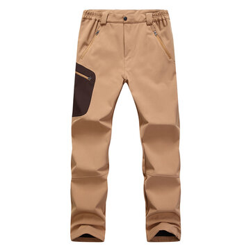 Mens Outdoor Warm Fleece Waterproof Windproof Sport Climbing Soft Shell Casual Pants