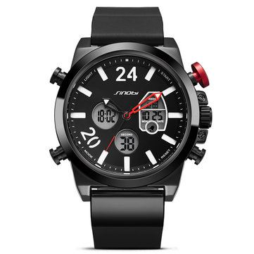 SINOBI 9732 Dual Display Digital Watch Men Chronograph Alarm Luminous Display Fashion Sport Watch