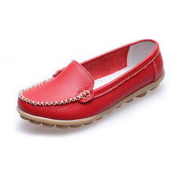 Mulheres Casual Flat Round Toe Loafers Soft Sole Slip On Flat Loafers