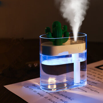 SOTHING 319 Clear Cactus Ultrasonic Air Humidifier 160ML Color Light USB Air Purifier Anion Mist Maker Water Atomizer