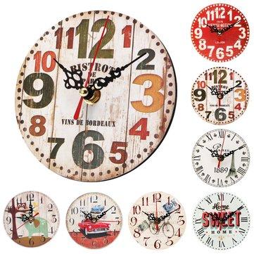 12センチメートルビンテージ小物ラウンド木製の壁時計シックなアンティークホームオフィスの装飾ギフト