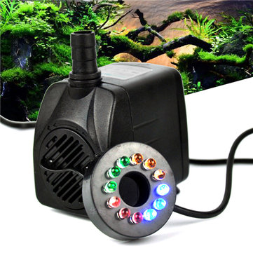 RGBY 12 LED Night Light Submersible Water Pump for Aquarium KOI Fish Pond Fountain AC220V